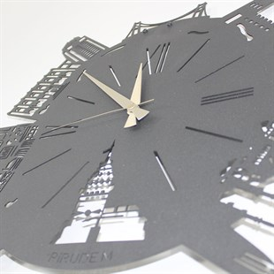 Time In İstanbul Metal Clock Metal Wall Art by Pirudem Metal Arts - Metal Wall Arts & Clocks & Decors